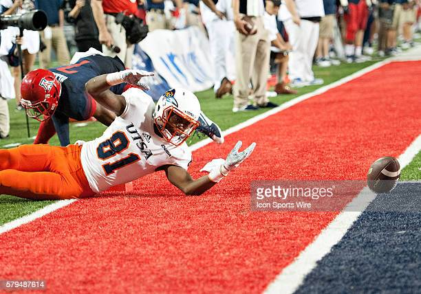 UTSA Roadrunners wide receiver Kenny Bias reacts after dropping the ball on the goal line during Arizona Wildcat's season opening 4232 win against...