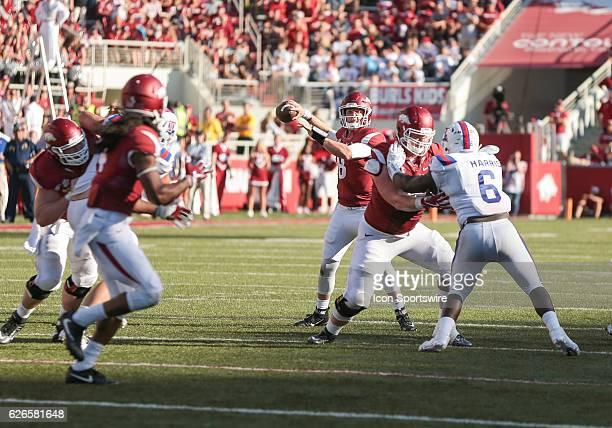 Arkansas Razorbacks quarterback Austin Allen throws to Arkansas Razorbacks wide receiver Keon Hatcher during an NCAA football game between the...