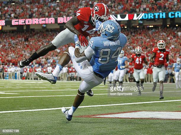 Georgia Bulldogs cornerback Malkom Parrish knocks the ball away from would be receiver North Carolina Tar Heels wide receiver Bug Howard in the end...
