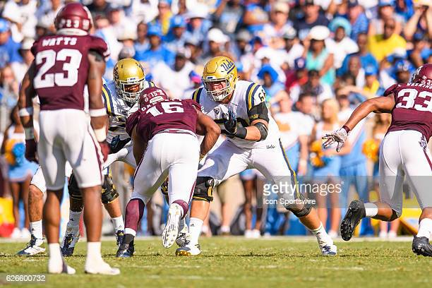 UCLA Bruins offensive lineman Conor McDermott blocks Texas AM Aggies defensive lineman Myles Garrett during the UCLA Bruins vs Texas AM Aggies game...