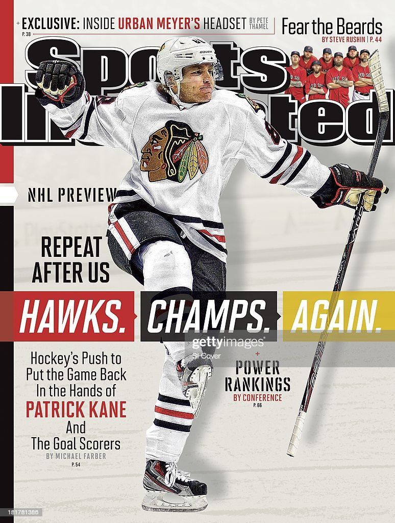 September 30 2013 Sports Illustrated Cover Chicago Blackhawks Patrick Kane victorious after scoring goal vs San Jose Sharks during 2nd period at HP...