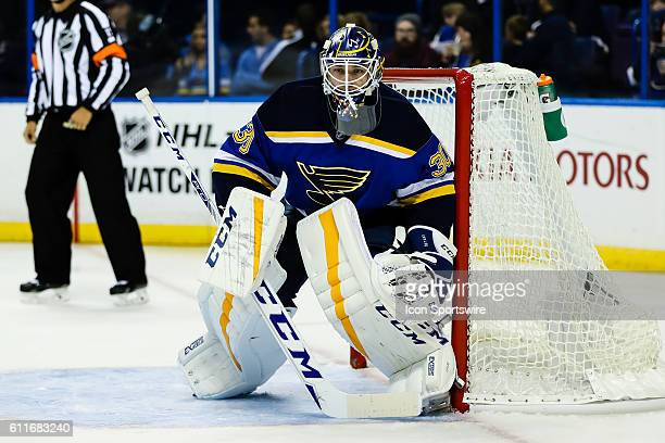 St Louis Blues goalie Pheonix Copley gets set during the third period of a NHL hockey game between the Dallas Stars and the St Louis Blues The Blues...