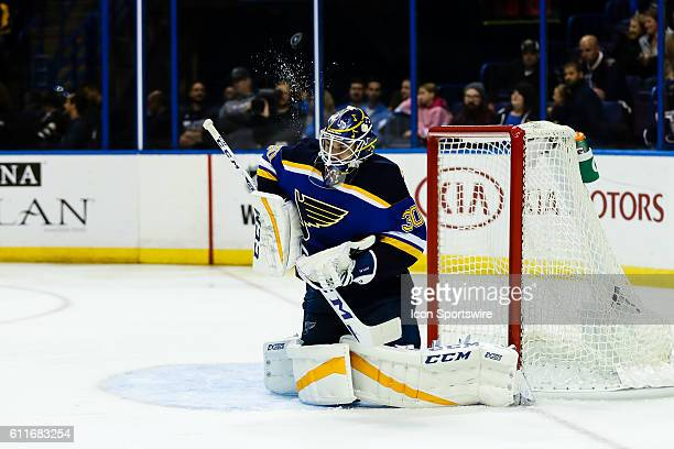 St Louis Blues goalie Pheonix Copley makes a shoulder save on a shot during the third period of a NHL hockey game between the Dallas Stars and the St...