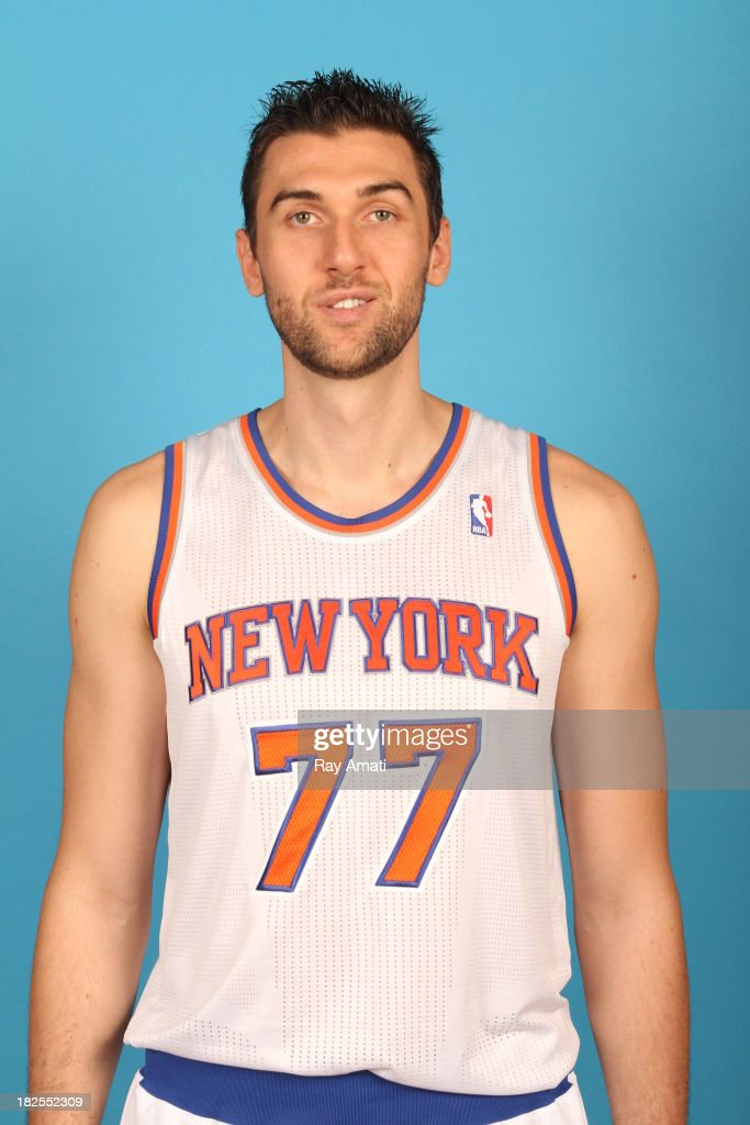 Andrea Bargnani #77 of the New York Knicks pose for a portrait during 2013 NBA Media Day at the MSG Training Facility on September 30, 2013 in Tarrytown, New York.