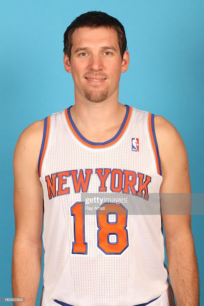 Beno Udrih #18 of the New York Knicks pose for a portrait during 2013 NBA Media Day at the MSG Training Facility on September 30, 2013 in Tarrytown, New York.