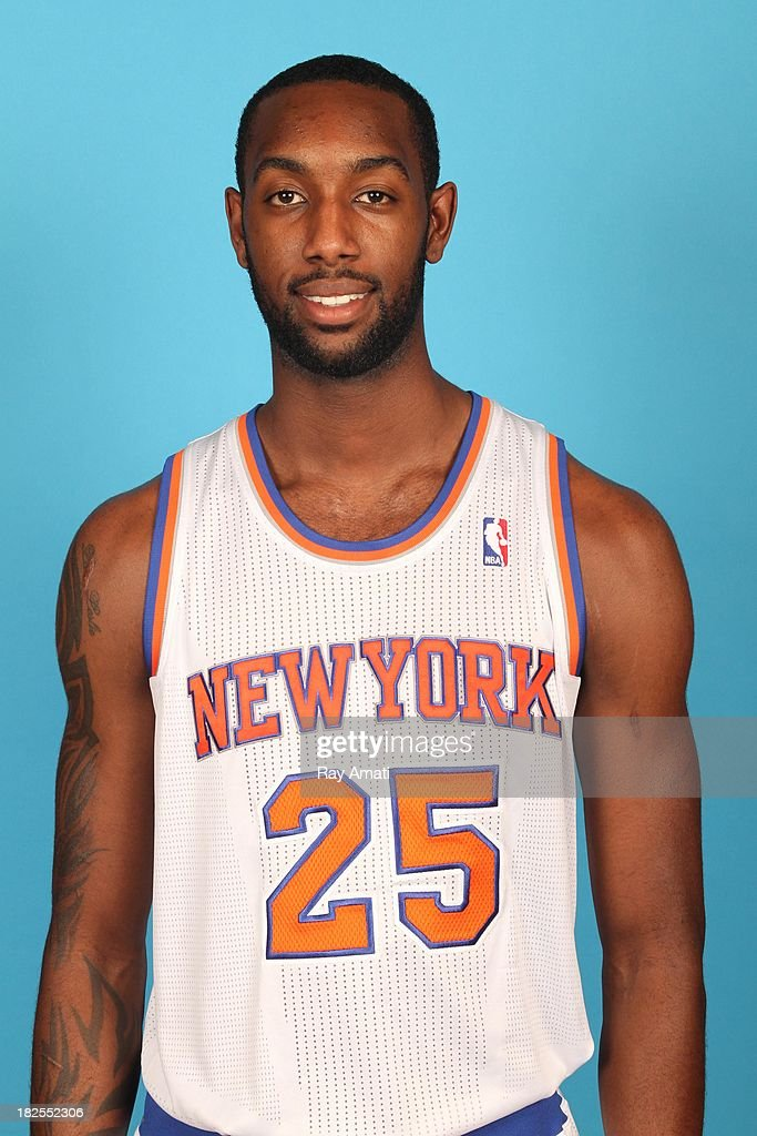 C.J. Leslie #25 of the New York Knicks pose for a portrait during 2013 NBA Media Day at the MSG Training Facility on September 30, 2013 in Tarrytown, New York.