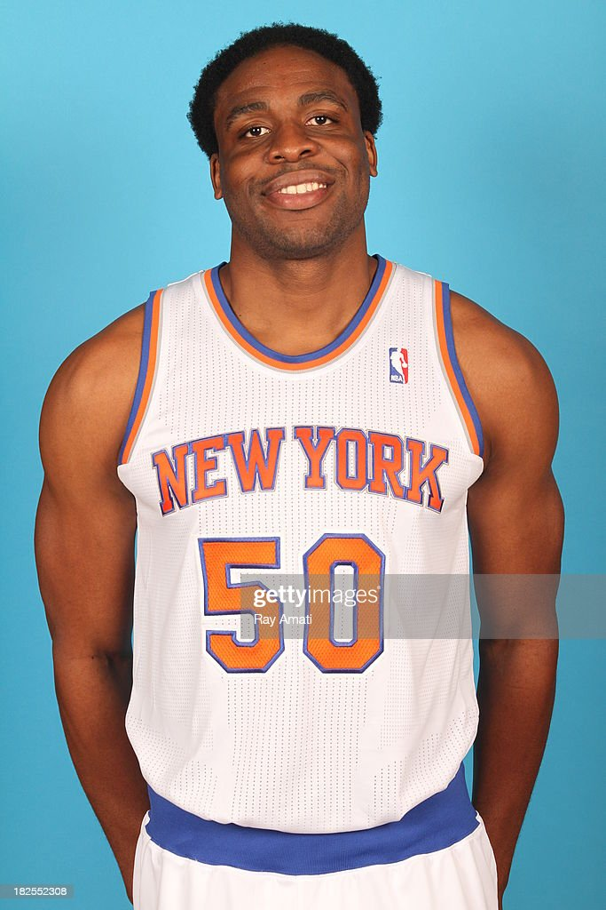 Ike Diogu #50 of the New York Knicks pose for a portrait during 2013 NBA Media Day at the MSG Training Facility on September 30, 2013 in Tarrytown, New York.