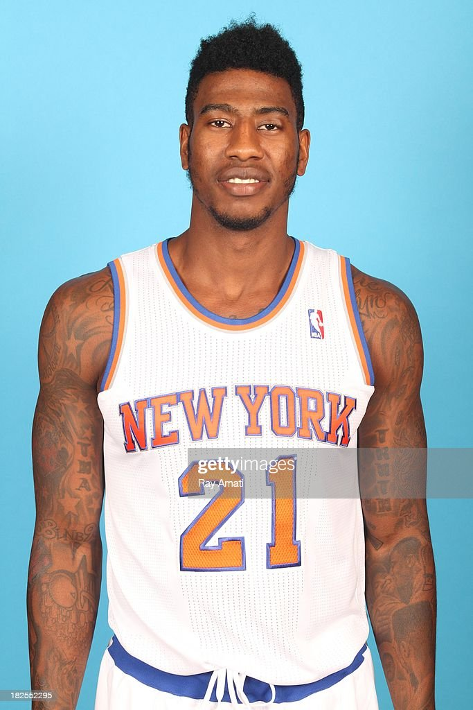 Iman Shumpert #21 of the New York Knicks pose for a portrait during 2013 NBA Media Day at the MSG Training Facility on September 30, 2013 in Tarrytown, New York.