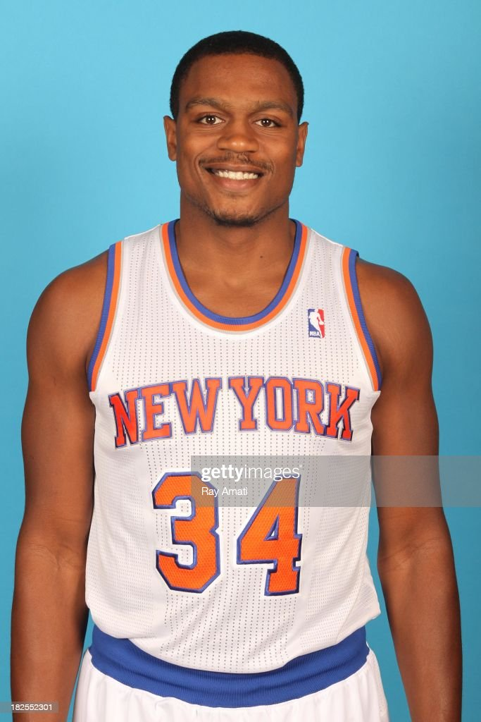 Justin Brownlee #34 of the New York Knicks pose for a portrait during 2013 NBA Media Day at the MSG Training Facility on September 30, 2013 in Tarrytown, New York.