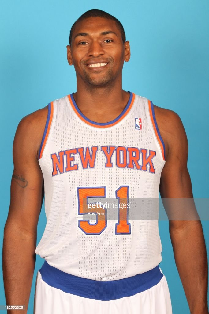 Metta World Peace #51 of the New York Knicks pose for a portrait during 2013 NBA Media Day at the MSG Training Facility on September 30, 2013 in Tarrytown, New York.