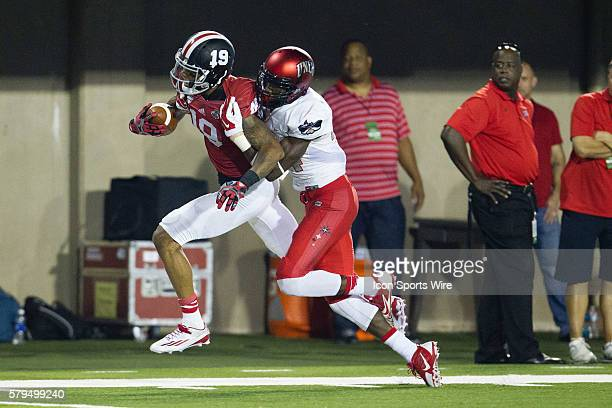 Northern Illinois wide receiver Kenny Golladay gets tackled after a long run during the Huskies game against UNLV at Brigham Field in DeKalb Illinois...