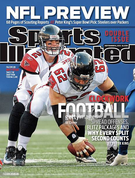 September 6 2010 Sports Illustrated Cover Football Atlanta Falcons QB Matt Ryan lines up over center Todd McClure at line of scrimmage during...