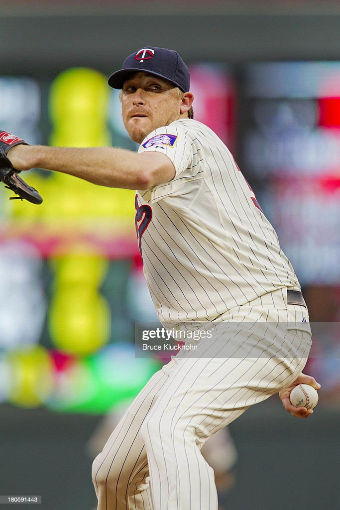 Kevin Correia of the Minnesota Twins pitches to the Toronto Blue Jays on September 7 2013 at Target Field in Minneapolis Minnesota The Blue Jays win...