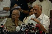 Civil aviation minister Shri Ashok Gajapathi Raju Pusapati at a press conference on September 9 2014 in New Delhi India