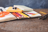 1 September concept postcard, teachers day, back to school, supplies, toned vintage