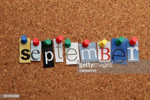 September pinned on noticeboard