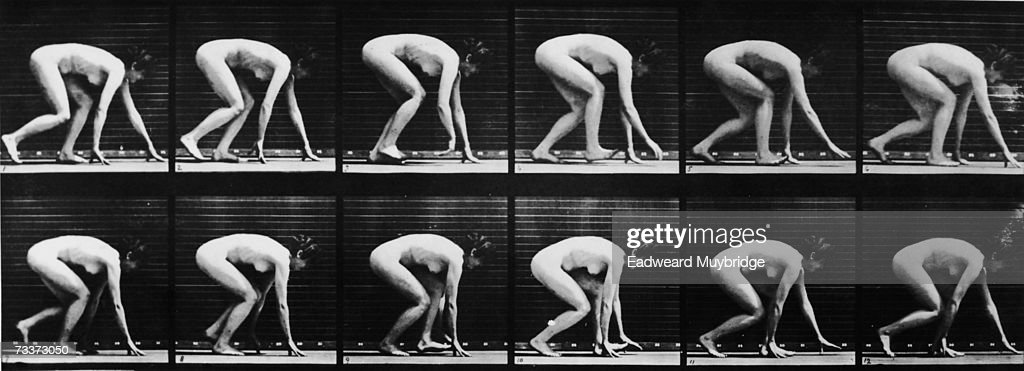 A sequence of 12 photographs illustrating the motion of a woman crawling on all fours, circa 1880.