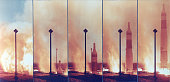 Sequence of five exposures shows the Titan I silo launch from ignition through liftoff at Vandenburg Air Force Base Lompoc California May 1961