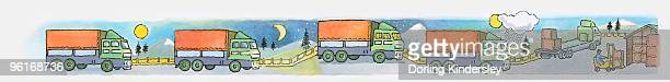 Sequence of illustrations of delivery truck travelling on roads during day, night, and sunrise
