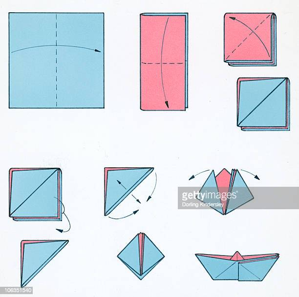 Sequence of illustrations showing how to make a pink and blue paper boat