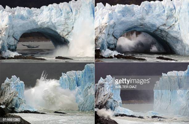 TOPSHOT Sequence of images of the collapse of huge masses of ice from the wall of the Perito Moreno Glacier located at Los Glaciares National Park...