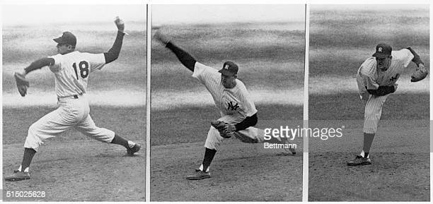 Sequence of photographs of New York Yankees pitcher Don Larsen pitching against the Brooklyn Dodgers during the 5th game of the 1956 World Series...