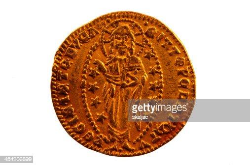 Sequin, Zecchino, A Gold coin of Venice : Stock Photo