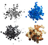 Set of different colors Sequins on a white background
