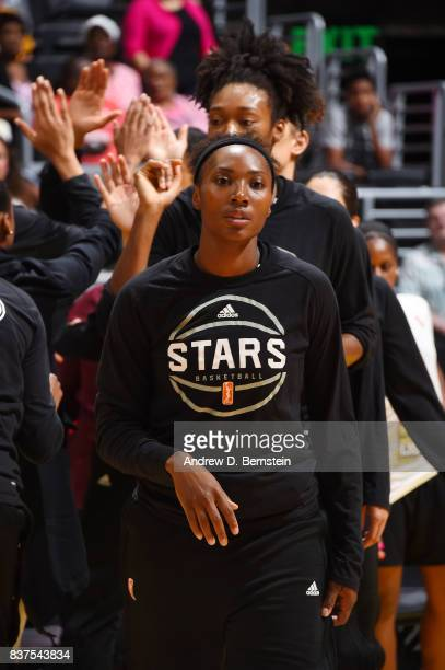 Sequoia Holmes of the San Antonio Stars gets introduced before the game against the Los Angeles Sparks on August 22 2017 at the STAPLES Center in Los...