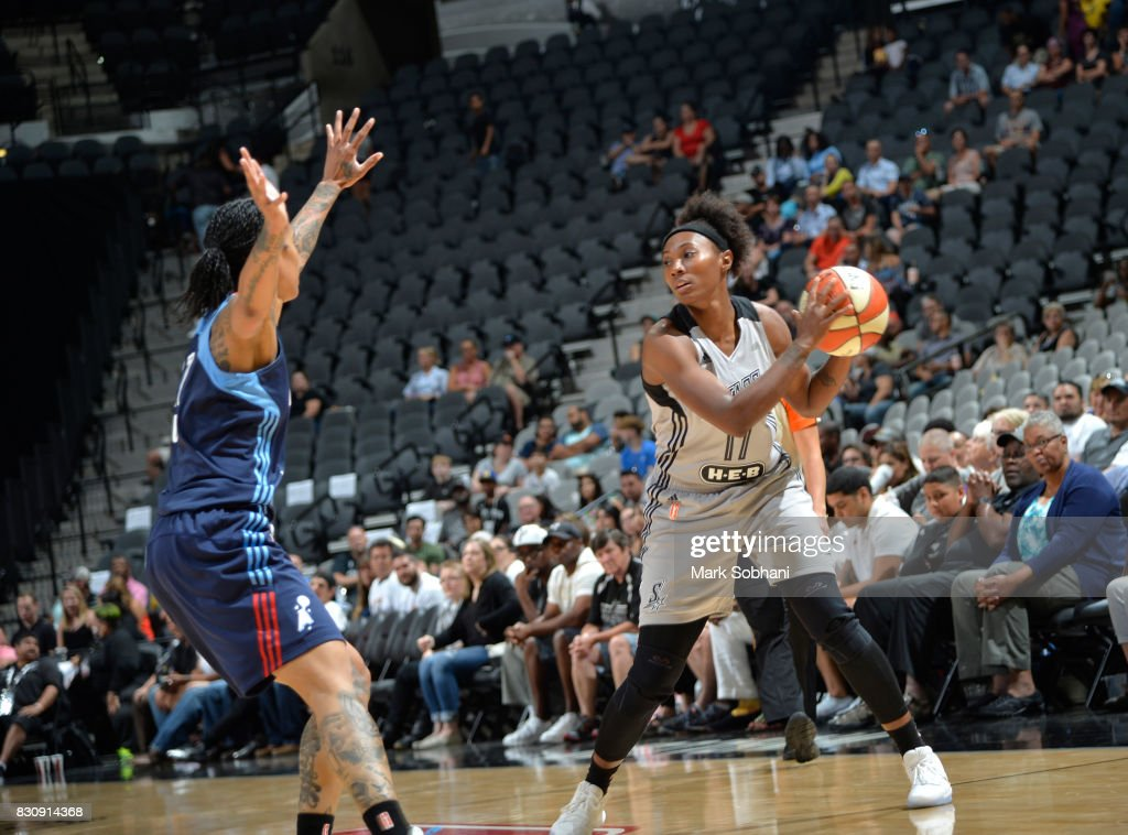 Sequoia Holmes #17 of the San Antonio Stars handles the ball against the Atlanta Dream on August 12, 2017 at the AT&T Center in San Antonio, Texas.