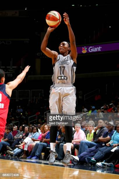 Sequoia Holmes of the San Antonio Stars shoots the ball against the Washington Mystics on May 14 2017 at Verizon Center in Washington DC NOTE TO USER...
