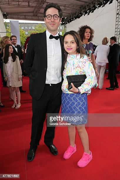 Serafina Dietl and her half brother David Dietl children of Helmut Dietl arrive for the German Film Award 2015 Lola at Messe Berlin on June 19 2015...