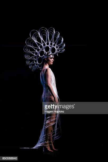 'Seraph' by Amelia Taverner and Eleanor Beeden of New Zealand is modelled in the Avantgarde Section during the World of WearableArt Opening Night...