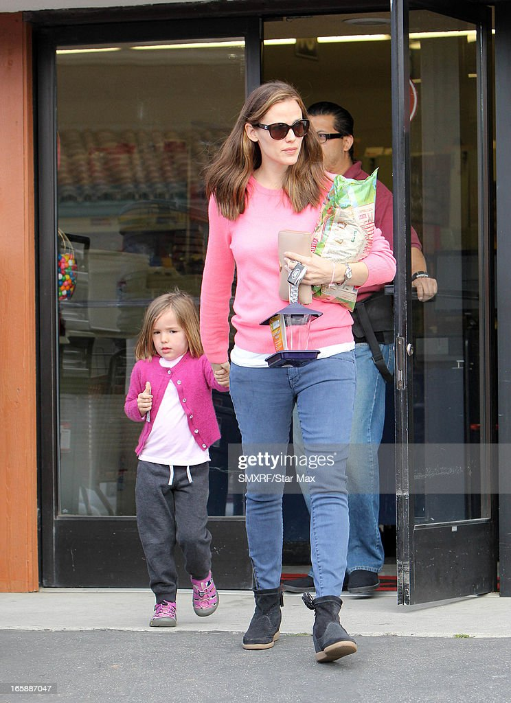 Seraphina Rose Elizabeth Affleck and <a gi-track='captionPersonalityLinkClicked' href=/galleries/search?phrase=Jennifer+Garner&family=editorial&specificpeople=201813 ng-click='$event.stopPropagation()'>Jennifer Garner</a> as seen on April 6, 2013 in Los Angeles, California.
