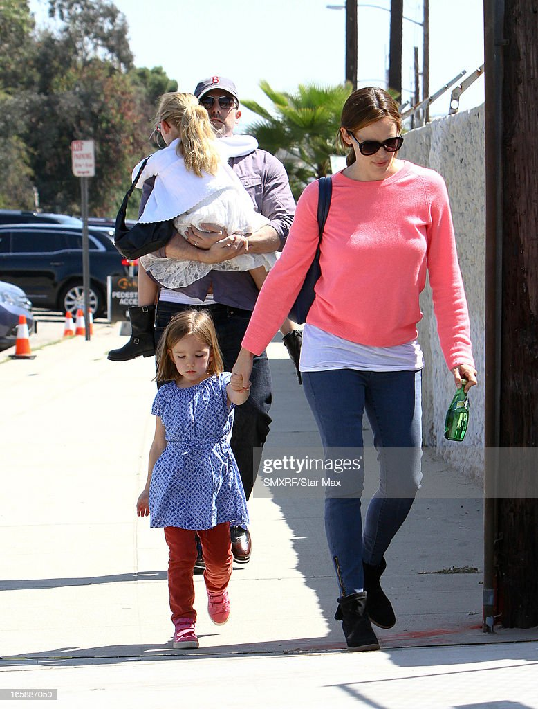 Seraphina Rose Elizabeth Affleck, <a gi-track='captionPersonalityLinkClicked' href=/galleries/search?phrase=Jennifer+Garner&family=editorial&specificpeople=201813 ng-click='$event.stopPropagation()'>Jennifer Garner</a>, Violet Anne Affleck and <a gi-track='captionPersonalityLinkClicked' href=/galleries/search?phrase=Ben+Affleck&family=editorial&specificpeople=201856 ng-click='$event.stopPropagation()'>Ben Affleck</a> as seen on April 6, 2013 in Los Angeles, California.