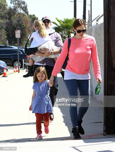 Seraphina Rose Elizabeth Affleck Jennifer Garner Violet Anne Affleck and Ben Affleck as seen on April 6 2013 in Los Angeles California