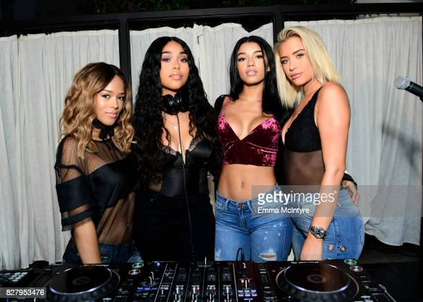 Serayah Jordyn Woods Yovanna Ventura and Anastasia Karanikolaou attend True Religion FIT event with Nylon at Ysabel on August 8 2017 in West...