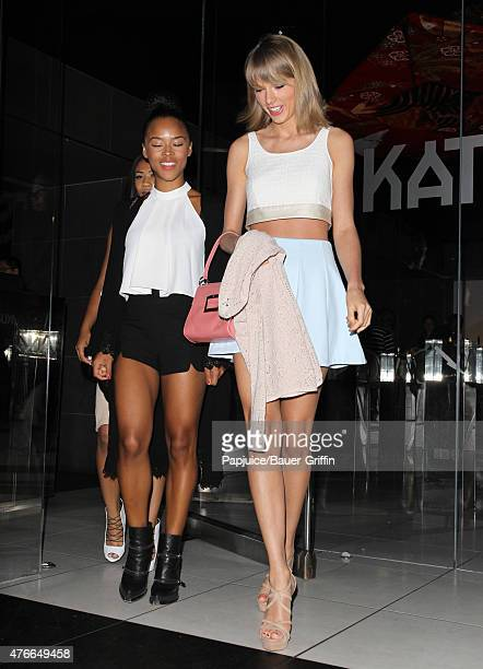 Serayah McNeill and Taylor Swift are seen departing Katsuya restaurant in Hollywood on June 10 2015 in Los Angeles California