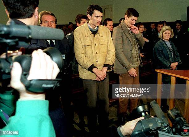 Serb soldiers Borislav Herak Sretko Damjanovic and Nada Tomic listen to their sentences in military court 30 Mar in the first war crimes trial of the...