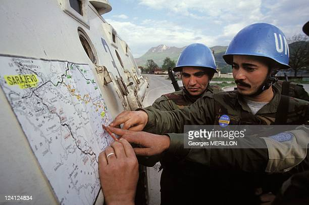 Serb tanks withdraw from around encircled Goradze In Gorazde Bosnia And Herzegovina On April 26 1994 UN soldiers