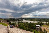 Serbia, Belgrade, New Belgrade, View from Belgrade Fortress, River delta of Sava and Danube river