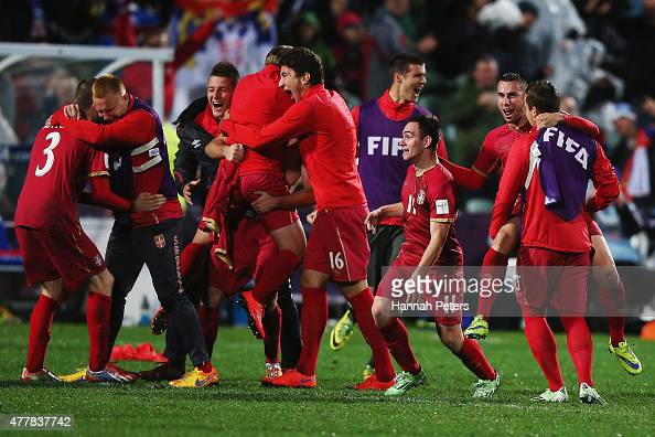 Serbia celebrate after winning the FIFA U20 World Cup Final match between Brazil and Serbia at North Harbour Stadium on June 20 2015 in Auckland New...