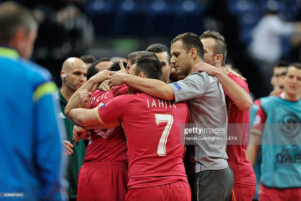 Serbia celebrate scoring their first goal during the UEFA Futsal EURO 2016 quarter final match between Serbia and Ukraine at Arena Belgrade on February 8, 2016 in Belgrade, Serbia.