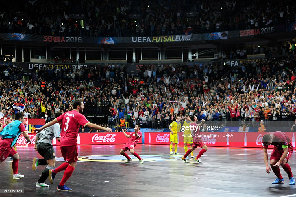 Serbia celebrate their victory over Ukraine during the UEFA Futsal EURO 2016 quarter final match between Serbia and Ukraine at Arena Belgrade on February 8, 2016 in Belgrade, Serbia.