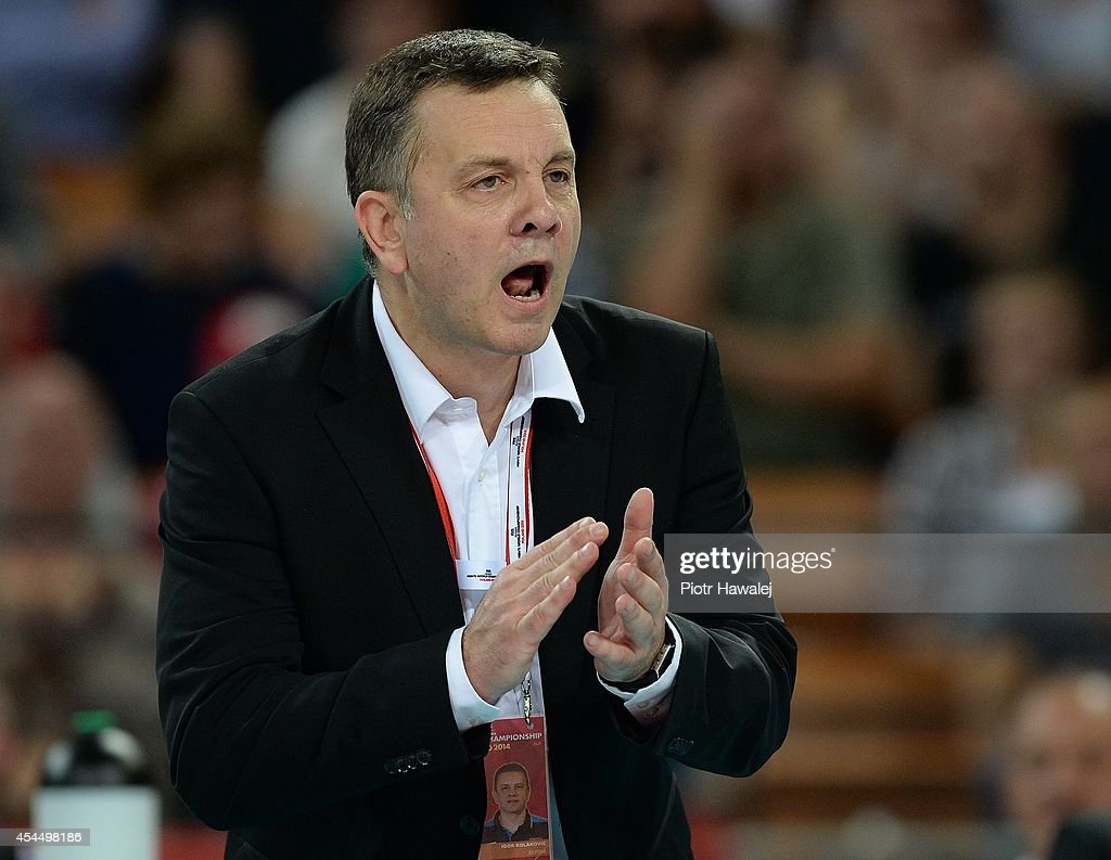 Serbia coach Igor Kolakovic reacts during the FIVB World Championships match between Serbia and Argentina on September 2, 2014 in Wroclaw, Poland.