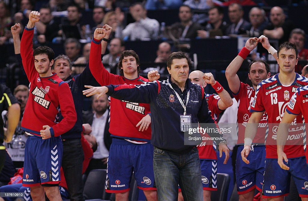 Serbia head coach Veselin Vukovic (C) gestures during the Men's European Handball Championship 2012 second round group one match between Serbia and Sweden at Arena Hall on January 23, 2012 in Belgrade, Serbia.