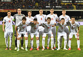 Serbia players line up before the international friendly match between Italy U21 and Serbia U21 at Stadio Ciro Vigorito on March 30 2015 in Benevento...