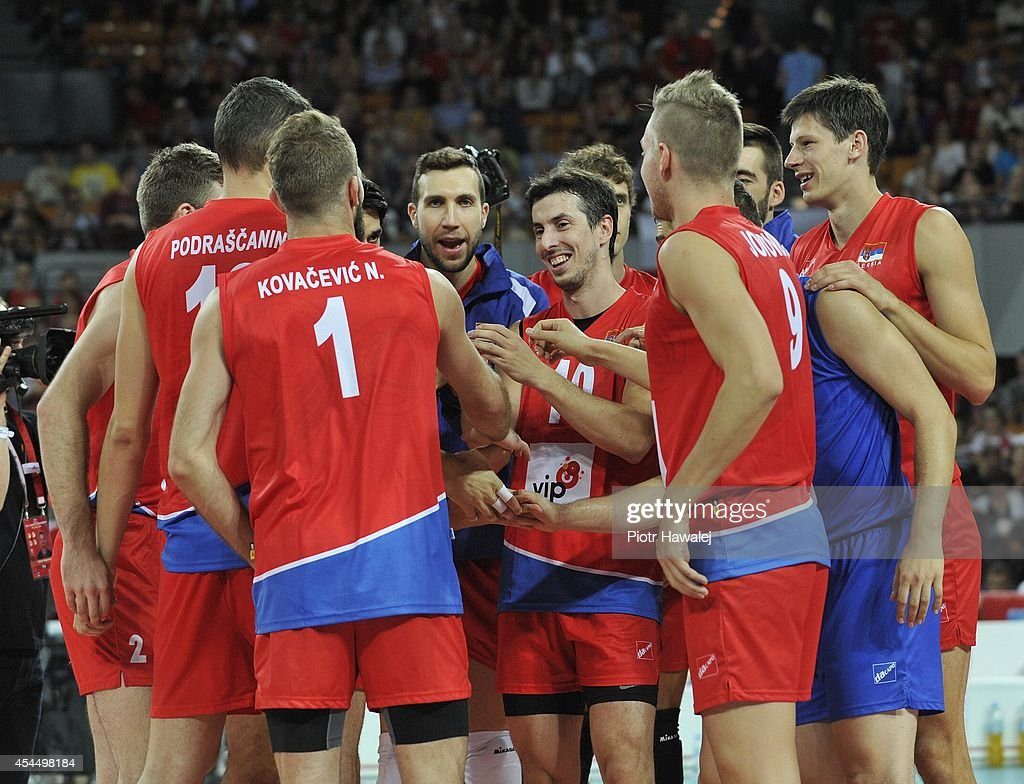 Serbia team celebrate after winning a matchduring the FIVB World Championships match between Serbia and Argentina on September 2, 2014 in Wroclaw, Poland.