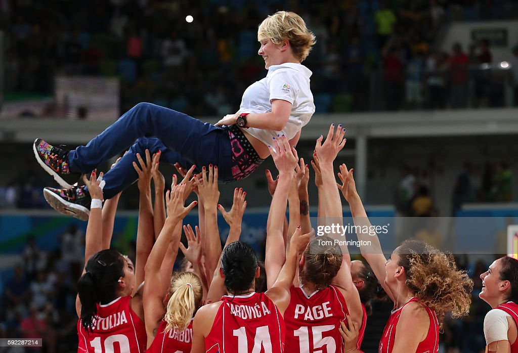 Serbia throws their head coach Marina Maljkovic into the air in celebration after defeating France 7063 in the Women's Bronze Medal basketball game...