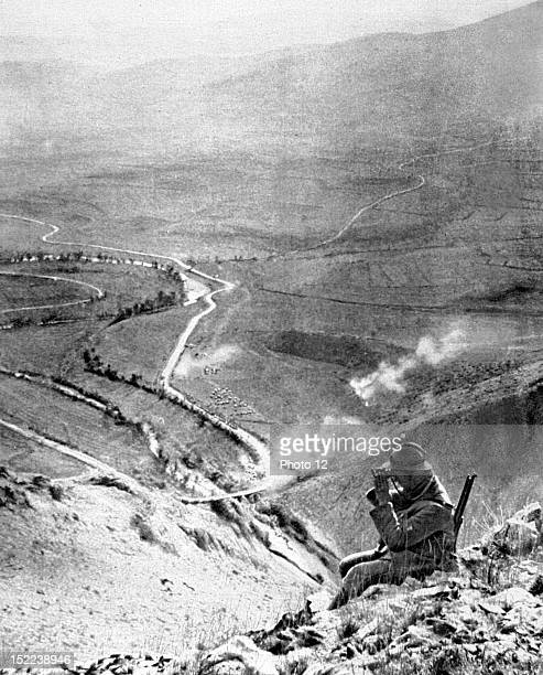 Serbia World War I Reconnaissance in the gorges of the Rajec An infantry sergeant observing the Prilep road from the Drenovo Pass